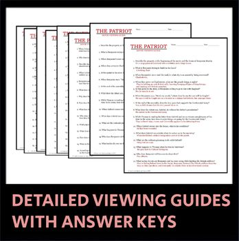 The Patriot Movie Guide Includes Viewing Guide Worksheets And Quiz In 2021 Movie Guide Common Core State Standards Patriot