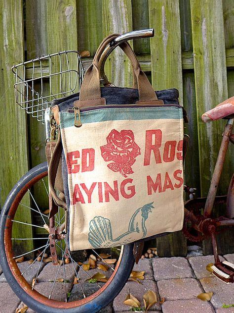 Open Tote Selina Vaughan Hershey/'s Sugar Seed Sack Tote Americana Vintage Original Seed Sack Upcycle  Canvas /& Leather Tote..