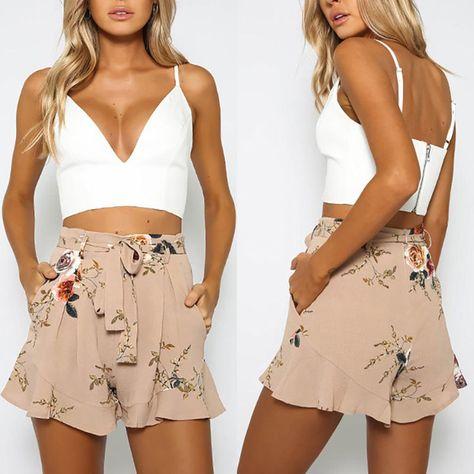 NEW Womens Ladies High Waist Summer Casual Floral Beach Sport Hot Pants Shorts
