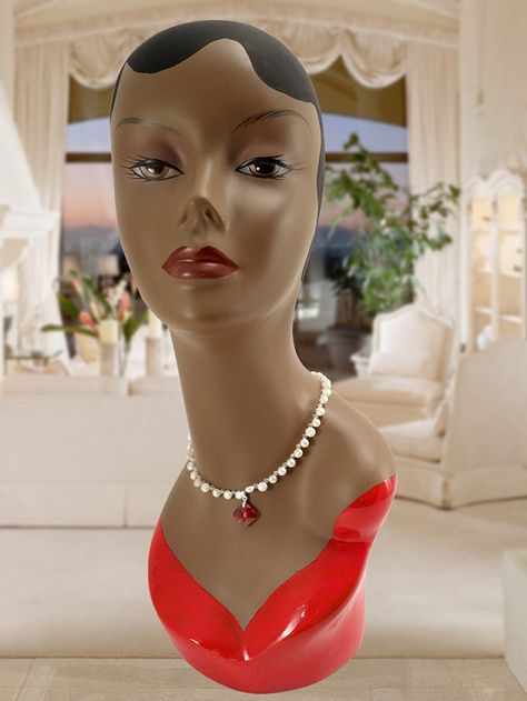 Hand Painted African American Flapper Fiberglass Mannequin Head Bust Black Hair and Red Dress - MD0029