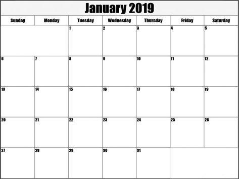 Blank January 2019 Calendar Template January 2019 Printable