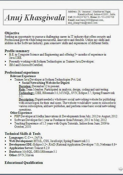 best resume template Sample Template Example of Excellenr - different resume formats