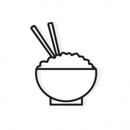 Rice Bowl With Chopsticks Icon Vector Illustration Stock Vector Spon Chopsticks Icon Rice Bowl Ad Desain Grafis Sumpit Stiker