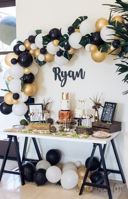 Tropical Party Ideas Love The Black Gold And White Blends So