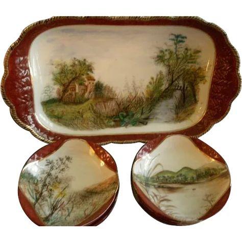 Charles Haviland & Co., Limoges Hand Painted Scenic Ice Cream Platter w/Ten Dessert Bowls, Circa 1880