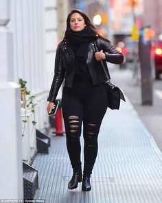 Graham keeps it casual and coordinated in black ensemble The woman in black: Ashley Graham kept it casual in all black on Monday as she stepped out.The woman in black: Ashley Graham kept it casual in all black on Monday as she stepped out.
