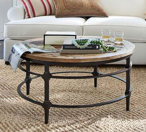 Parquet Reclaimed Wood Round Coffee Table Coffee Table
