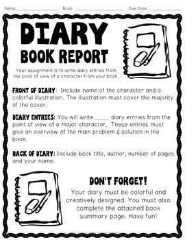 Diary Book Report Template Write A Diary From The Point Of View Of A Character Book Report Templates Diary Book Book Report