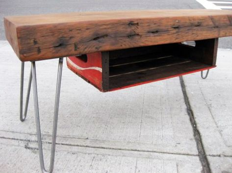 Kroff Designs has been making reclaimed furniture in Brooklyn with love for years. Now they're using vintage soda crates as magazine drawers for their tables – adding a special touch to their beautiful recycled designs.