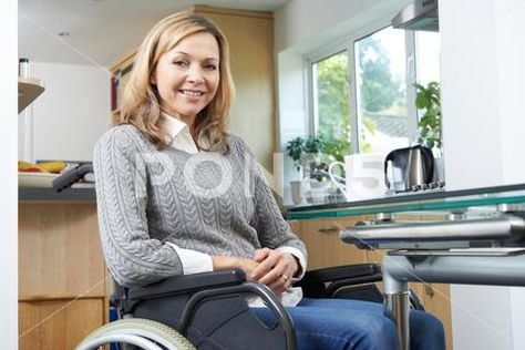 Portrait Of Mature Disabled Woman In Wheelchair At Home ~ Premium Photo #81057619