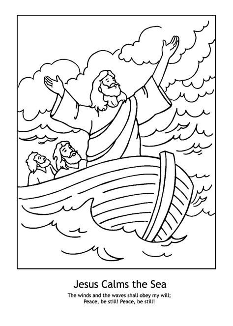 Jesus Calms The Storm Free Coloring Pages Jesus Coloring Pages