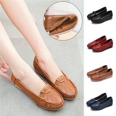 Womens Leather Loafers Ladies Comfort Shoes Pumps Flats Casual Work Real Leather