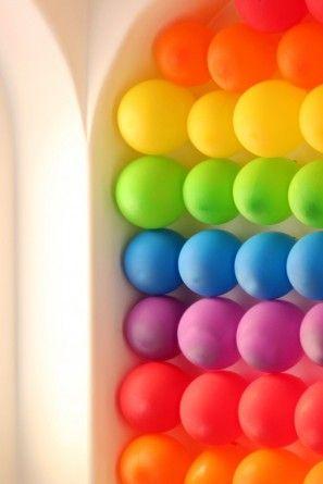 Rainbow party ideas--Rainbow Balloon Wall