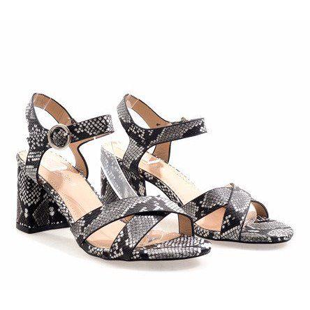 Wezowe Sandaly Na Slupku Zamsz X 116 Czarne Wielokolorowe Sandals Womens High Heels Womens Sandals