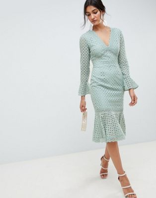 ed271b1bfe3 DESIGN broderie lace v neck fluted sleeve midi dress | Bridesmaids ...
