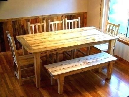 Bennington Pine Dining Room Table Dining Table With Bench Pine