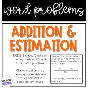 Addition And Estimation Word Problems Rounding To 10 S And 100 S Word Problems Problem Solving Strategies Estimation Front end estimation worksheets