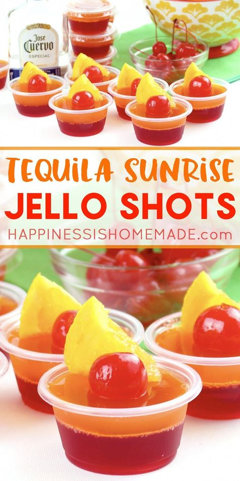 Tequila Sunrise Jello Shot Recipe: These delicious tequila sunrise Jello shots are the perfect cocktail for backyard summer bbqs and pool parties! Get this yummy jello shot recipe and be the hit of the party this summer! #cocktailrecipes