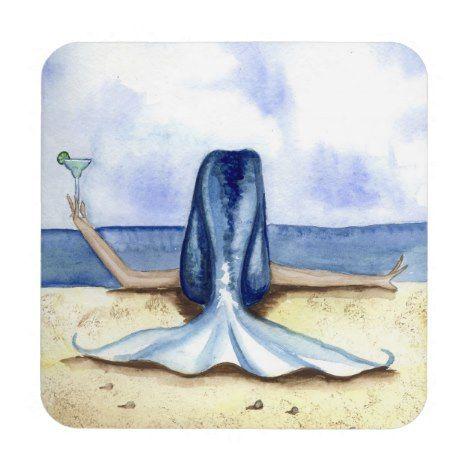 Grimshaw Beach Margarita Mermaid Coaster Set #coasters #homedecor #drinks #stonecoasters #corkcoasters #monogram #photo coasters