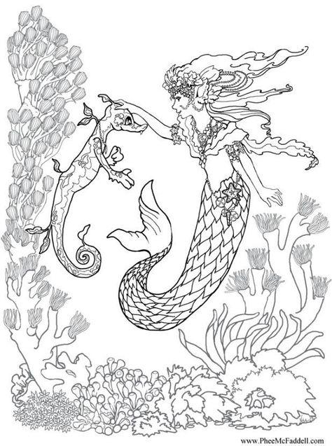 ausmalbilder meerjungfrau seepferdchen
