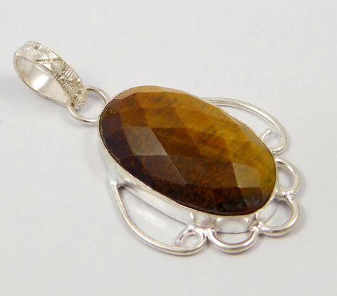 Tiger/'s Eye Gemstone 925 Silver Plated Handmade Jewelry Pendants