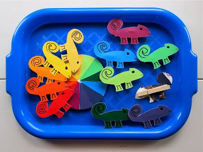 The activity below was inspired by the book A Color of His Own.  The color chameleons were cut from paint strips and then hot glued to clothes pins. The color wheel is made up of triangles cut from paint strips which were then glued to a trimmed down paper plate.
