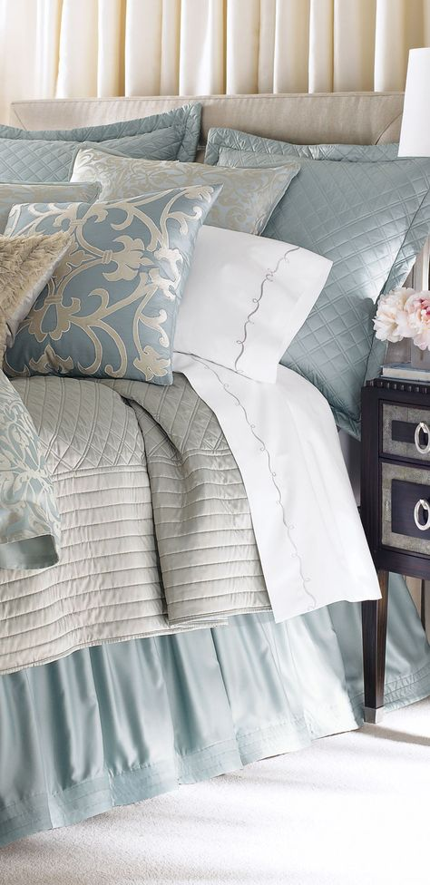 Master bedroom linens, pale blue with silver tones