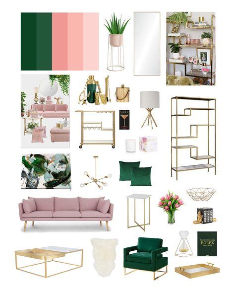Living Room Green, Green Rooms, Living Room Decor, Bedroom Decor, Blush Pink Living Room, Living Room Designs, Living Rooms, Gold Bedroom, Bedroom Green