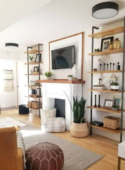 Rustic Living Room Lighting Ideas Shelves 35 Super Ideas Livingroom L Large Wall Decor Living Room Living Room Shelves Furniture Design Living Room