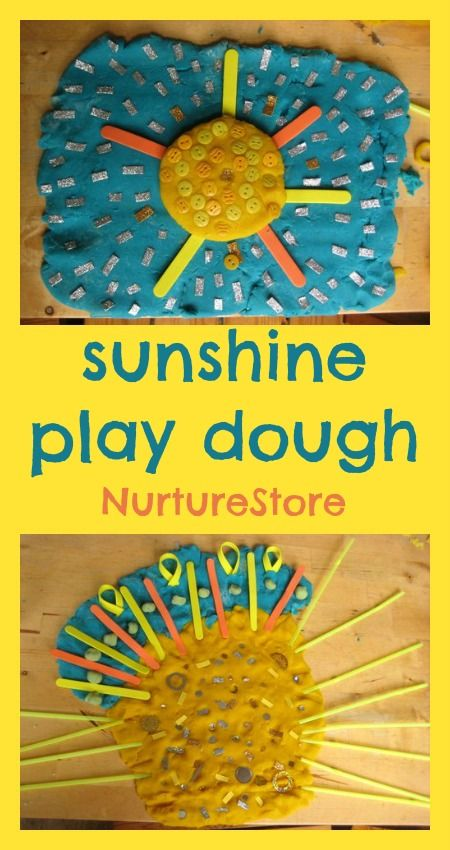 A sunshine play dough recipe idea that's great for sensory & creative play for summer
