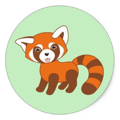 Cute red panda on green classic round sticker red panda and round stickers