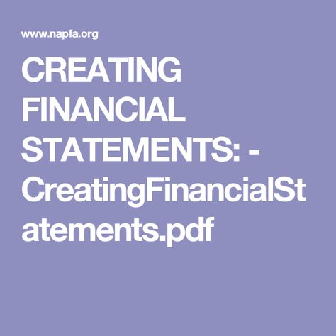 CREATING FINANCIAL STATEMENTS - CreatingFinancialStatementspdf - personal financial statement template