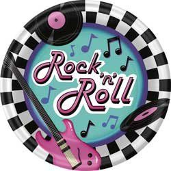 Rock N Roll Plates 50s Theme Extra Large Dinner Plates 8 Count Be Sure To Check Out This Awesome Pr Christmas Party Supplies 50s Rock And Roll Rock N Roll