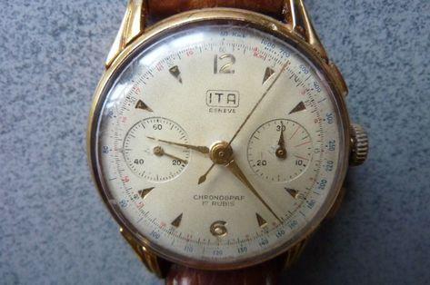 Articles Similaires A Montre Chronographe Ita Geneve 1940 1950 Ref 215 Et Eb Sur Etsy Watches For Men Chronograph Watches