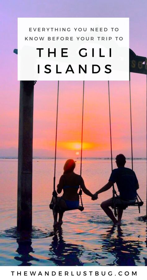 A complete guide to The Gili Islands in Indonesia.  Helping you to decide which gorgeous island to head to next. Showing you what each island is best for, how to get there and what do (whether it's chic beach bars, fun & unique activities or relaxing on the most beautiful beaches). Featuring Gili Trawangan, Gili Air & Gili Meno.