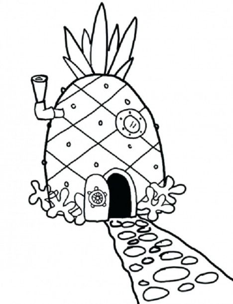 Spongebob Squarepants House Coloring Pages スポンジボブ イラスト, スポンジボブ, 塗り絵
