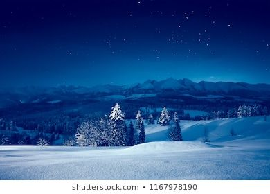 Snowy Winter Night Stunning Night Landscape Sky With Stars Over Snowy Mountains And Valley Night Landscape Winter Night Landscape