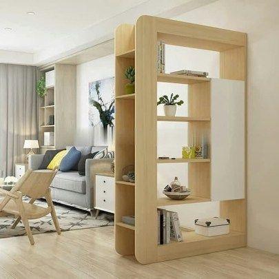 Partisi Penyekat Ruang Tamu Minimalis Modern Bahan Kayu Melamine Desain Interior Ruang Tamu Ruang Tamu Rumah Desain