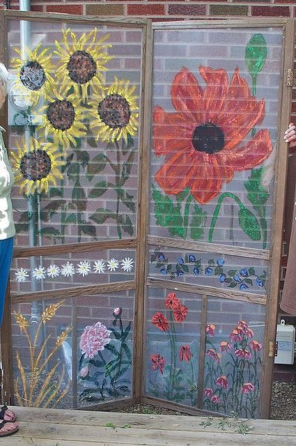 painted screen doors - love these! room divider - porch privacy screen - garden
