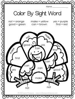 Thanksgiving Activities Free Color By Code Number Sight Words Thanksgiving Classroom Thanksgiving Kindergarten Thanksgiving Lessons