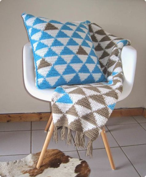 Tapestry crochet blanket and cushion