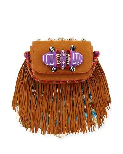 fd00de4542 CHRISTIAN LOUBOUTIN Sweet Charity Beaded Fringe Crossbody Bag, Brown. # christianlouboutin #bags #shoulder bags #leather #crossbody #lining #