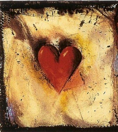 Screenprint - Jim Dine - The hand coloured Viennese hearts VI