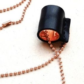 Copper and leather necklace. Dutch design. Hand made.