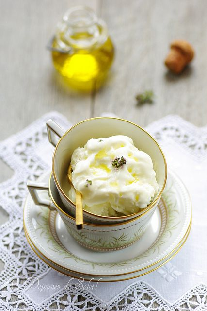 Unexpected, creamy, intriguing Olive Oil Frozen Yogurt. #food #yogurt #frozen #olive #oil #ice_cream #dessert #Italian