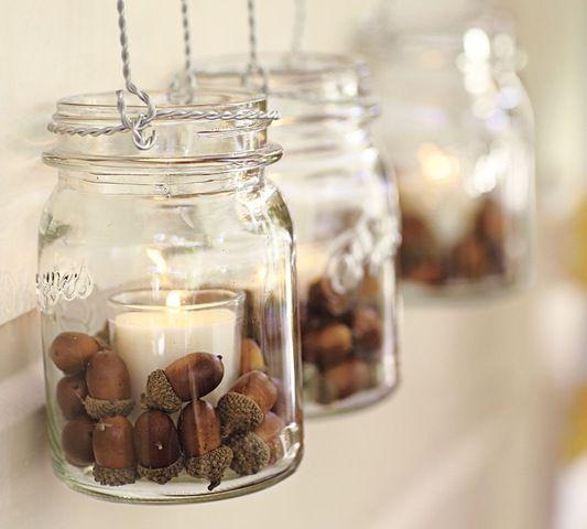 Mason jars, candles, and acorns garland