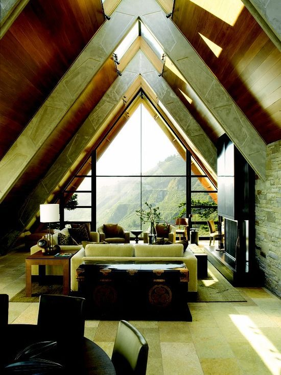 Interior of a modern A-Frame house