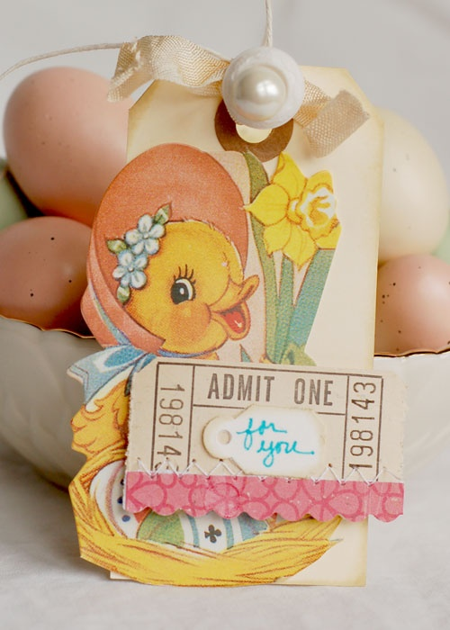 Tag using Vintage Easter Kit products