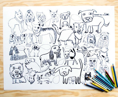 Dog Colouring Poster by Draw me a Lion.