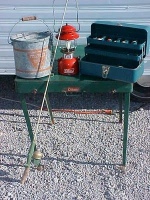 1950s Coleman camp table & other retro camping supplies.
